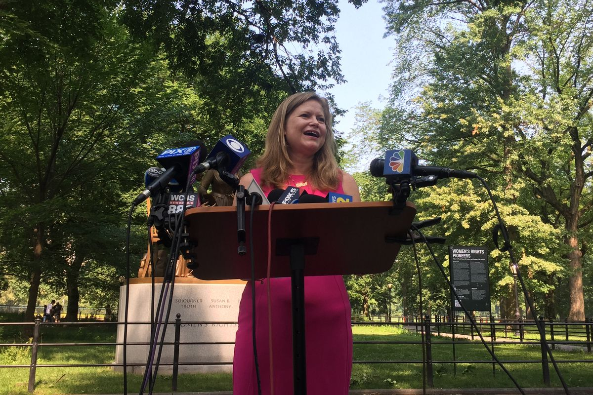 Mayoral candidate Kathryn Garcia concedes to Eric Adams at the Women's Rights Pioneers Monument in Central Park, July 7, 2021.