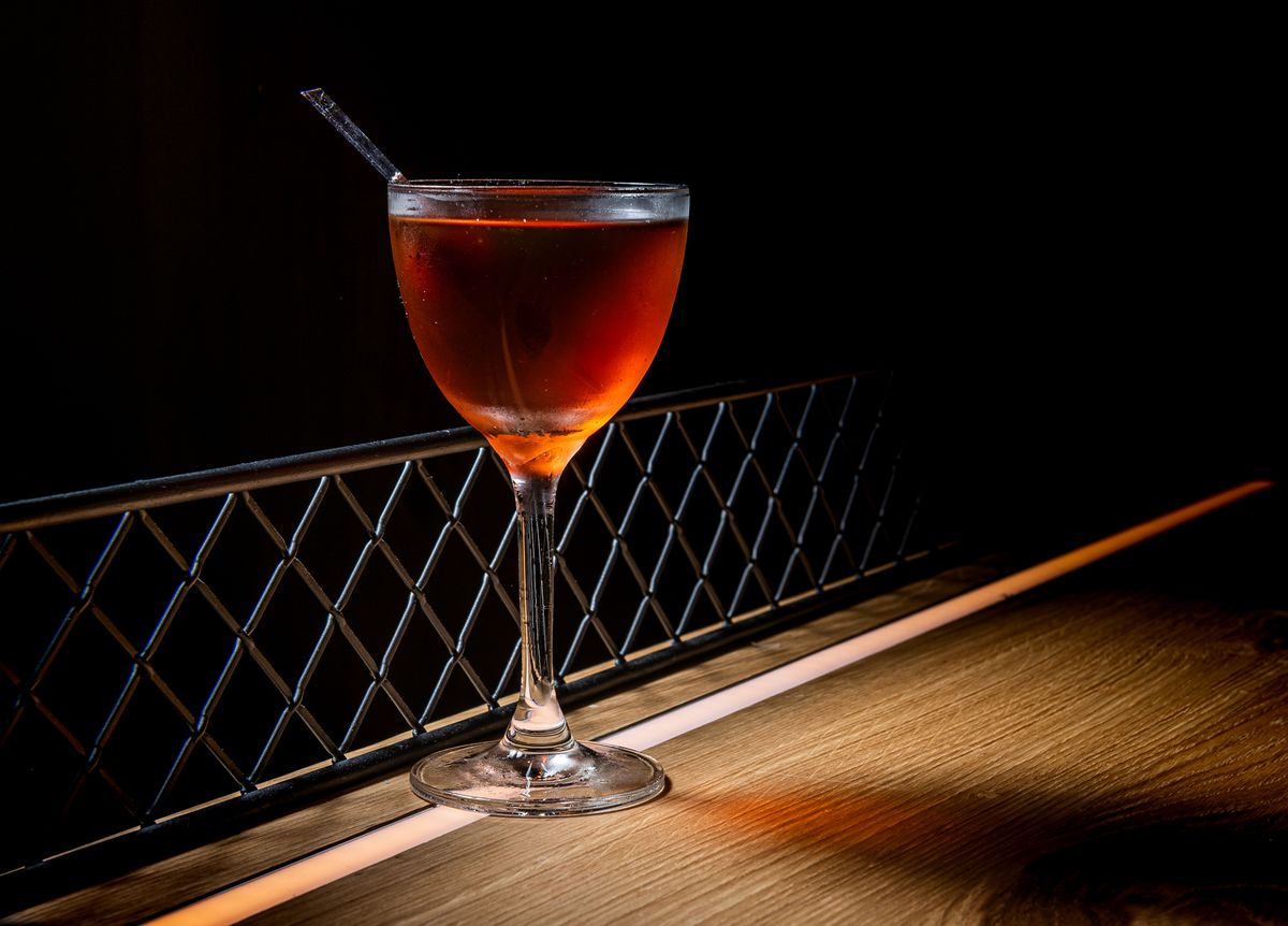 Yardbird's Bobby Burns cocktail is a riff on a Manhattan with a touch of Drambuie scotch