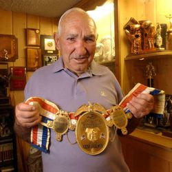 Former Middle Weight champion Gene Fullmer in his Salt Lake County home Aug 22, 2002.