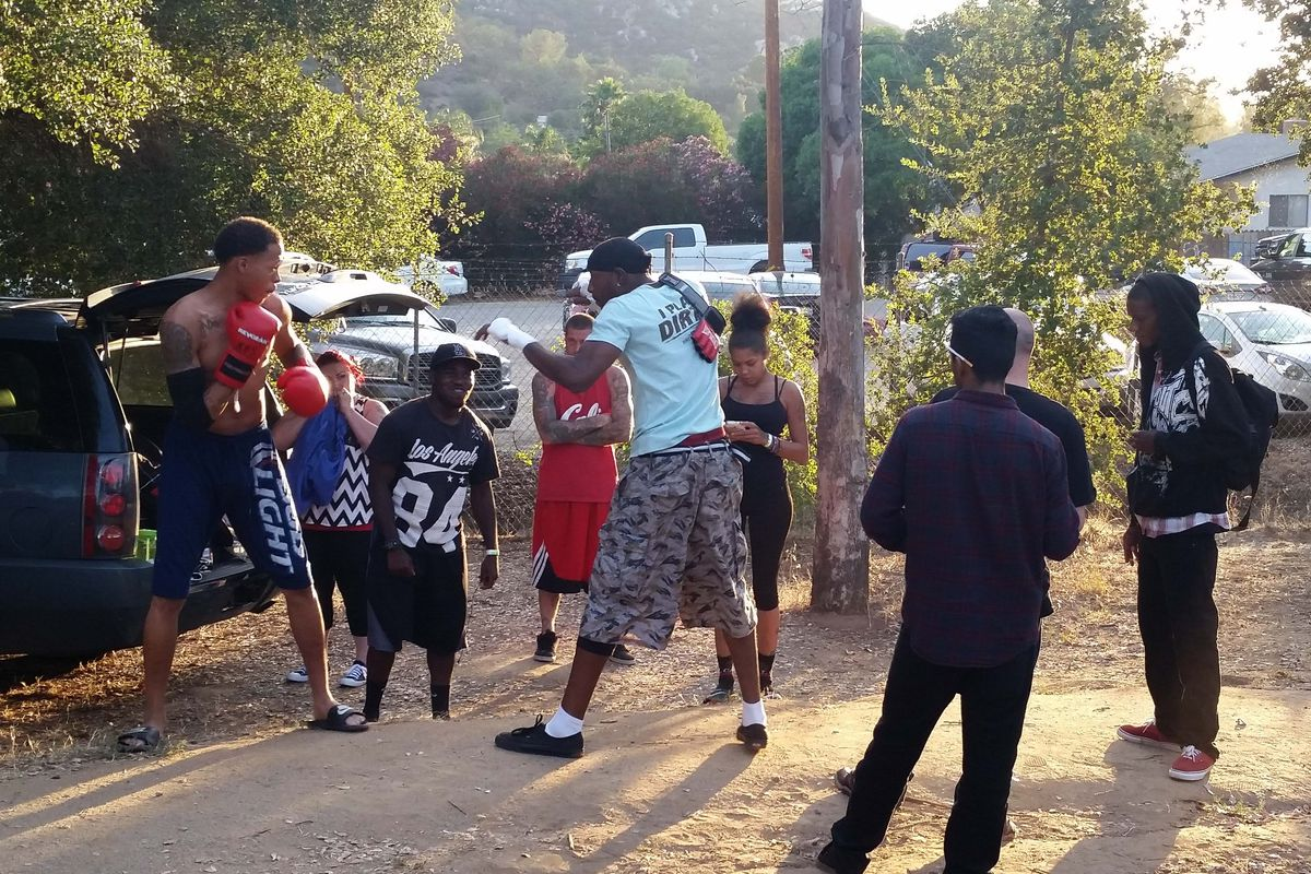 Fighters warming up outside the Xplode Fight Series venue in July.
