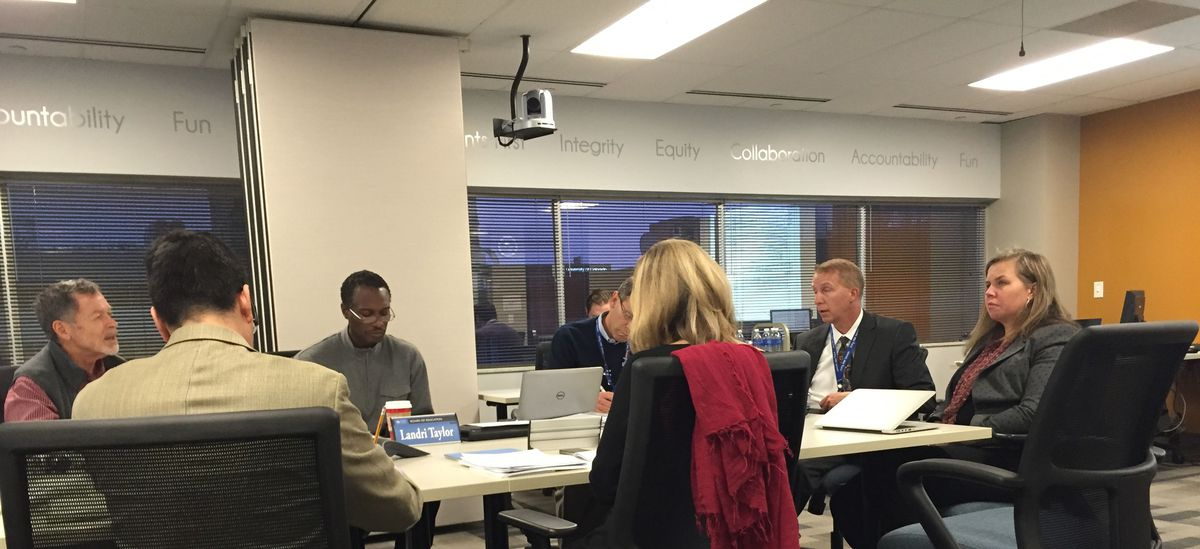 The Denver school board discusses academics, including curriculum, at a meeting in November.