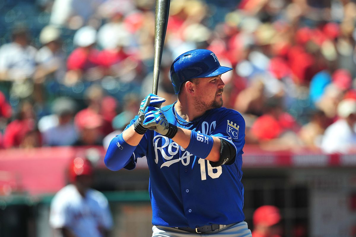 July 25, 2012; Anaheim, CA, USA; Kansas City Royals designated hitter Billy Butler (16) at bat in the eighth inning against the Los Angeles Angels at Angel Stadium. Mandatory Credit: Gary A. Vasquez-US PRESSWIRE