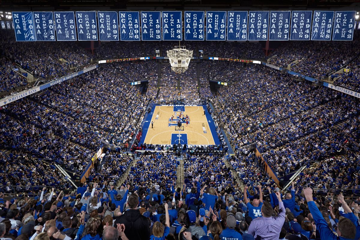 rupp arena rafters getting painted blue a sea of blue