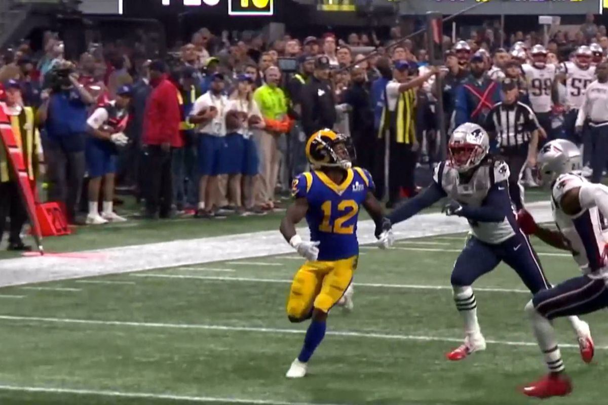 db1ded38 New England Patriots CB Stephon Gilmore defends Los Angeles Rams WR Brandin  Cooks in Super Bowl