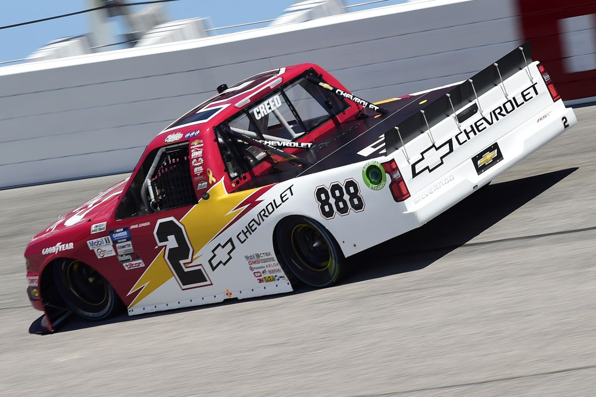 Sheldon Creed, driver of the #2 Chevy Accessories Chevrolet, drives during the NASCAR Gander Outdoors Truck Series South Carolina Education Lottery 200 at Darlington Raceway on September 06, 2020 in Darlington, South Carolina.