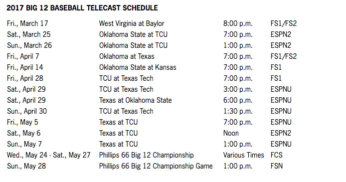Big 12 Releases Baseball TV Schedule - Cowboys Ride For Free