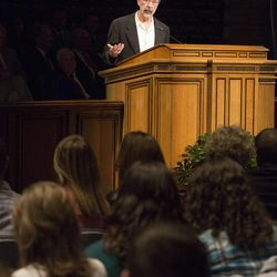 Ed Catmull answered questions from students following a forum at Brigham Young University on the need for creativity in companies on Jan. 27.