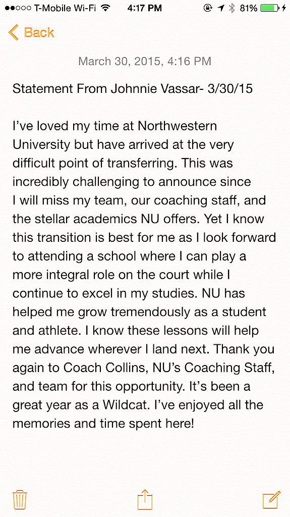 Vassar statement