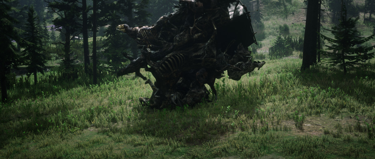 A modder attaches a wave of animal carcasses to a poor, unsuspecting Red Dead Online player.