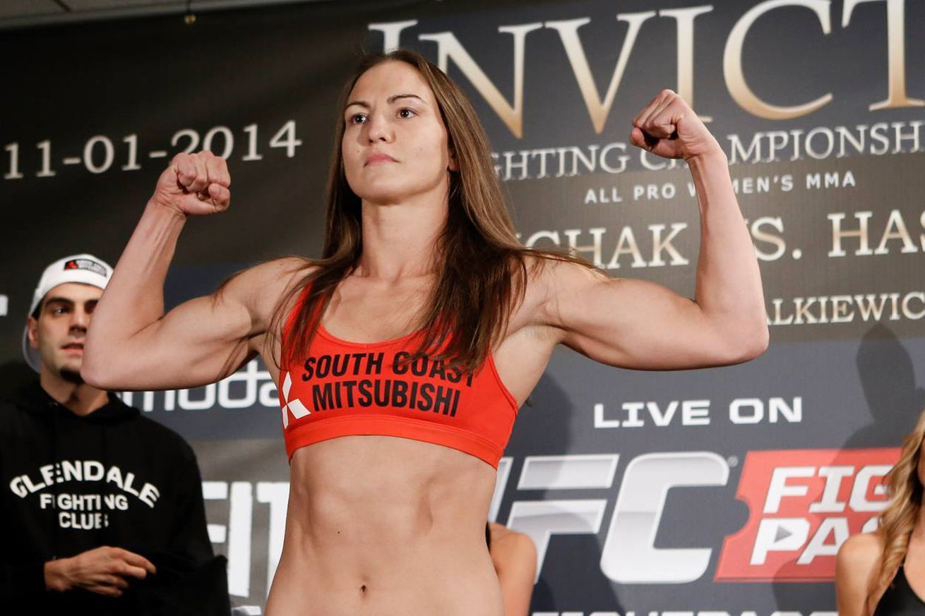 Kaitlyn Young weighing it for her last Invicta FC appearance back on Oct. 31, 2014