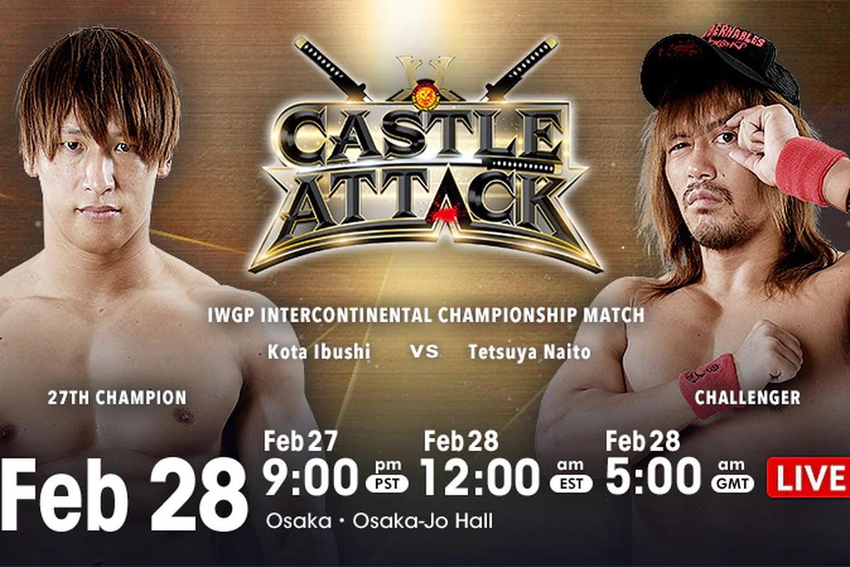 Match graphic for Ibushi vs. Naito at NJPW Castle Attack