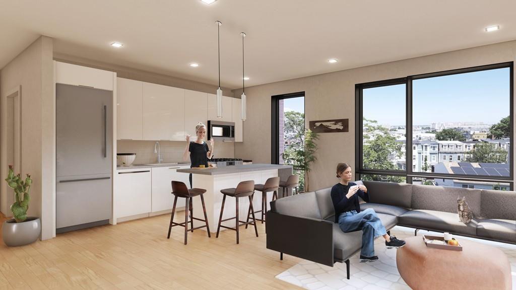 Rendering of an open living room-kitchen.