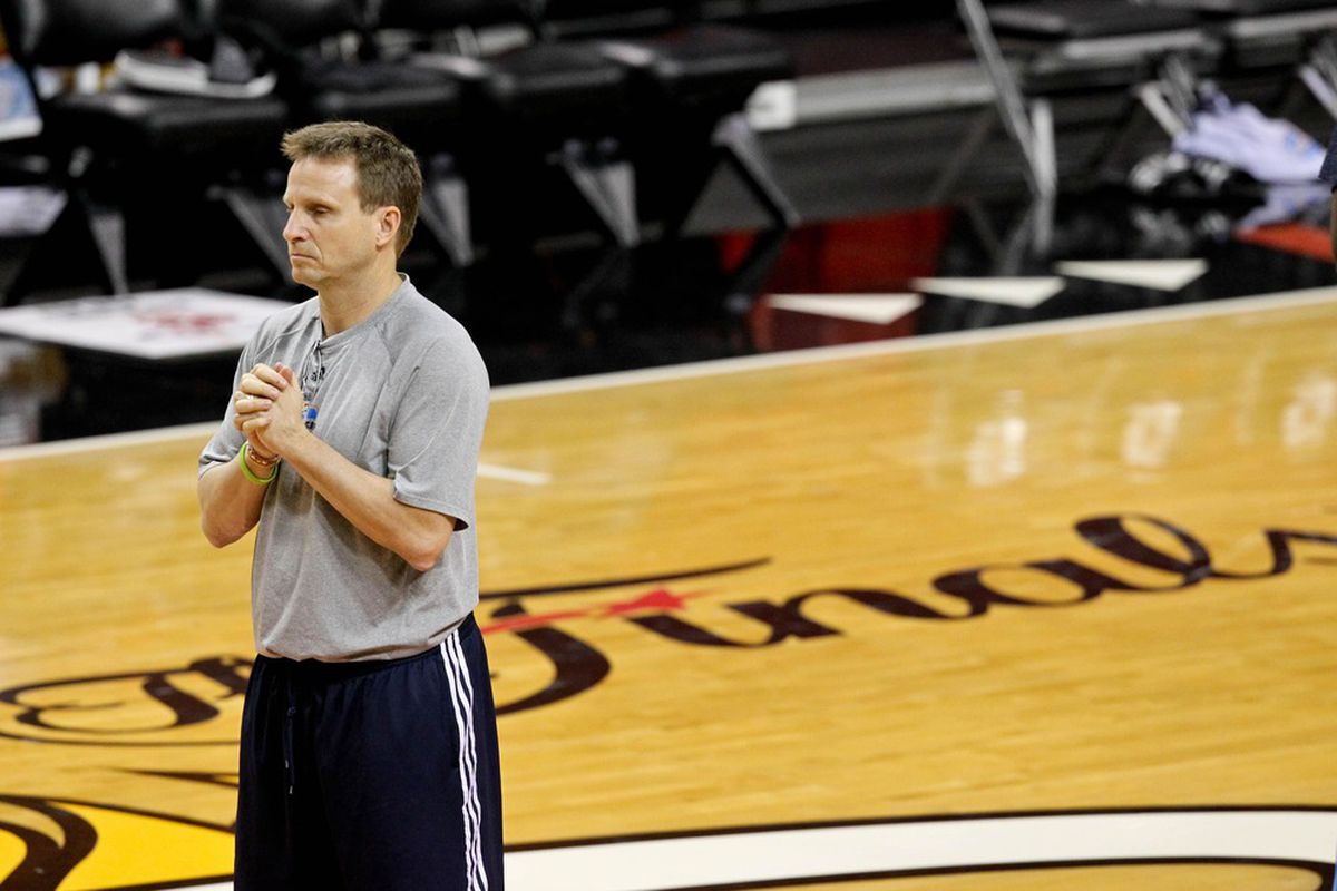 June 18, 2011; Miami, FL, USA; Oklahoma City Thunder head coach Scott Brooks during practice for game four of the 2012 NBA finals against the Miami Heat at American Airlines Arena.  Mandatory Credit: Derick E. Hingle-US PRESSWIRE