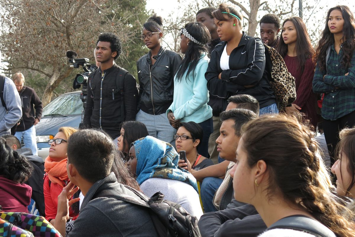South High School students gathered at East High School early this afternoon.