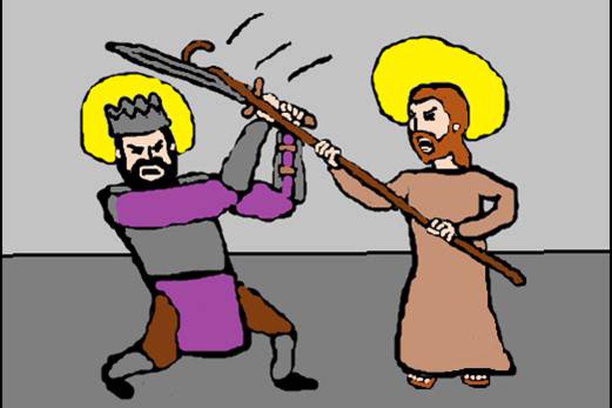 Saint Louis vs. Saint Joseph. I tricked Earl into drawing this by sending him a Drawception-style prompt. Thanks Earl!