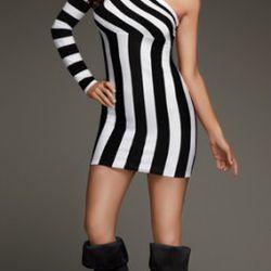 Striped one-shoulder knit dress, $69.30 (orig. $99)