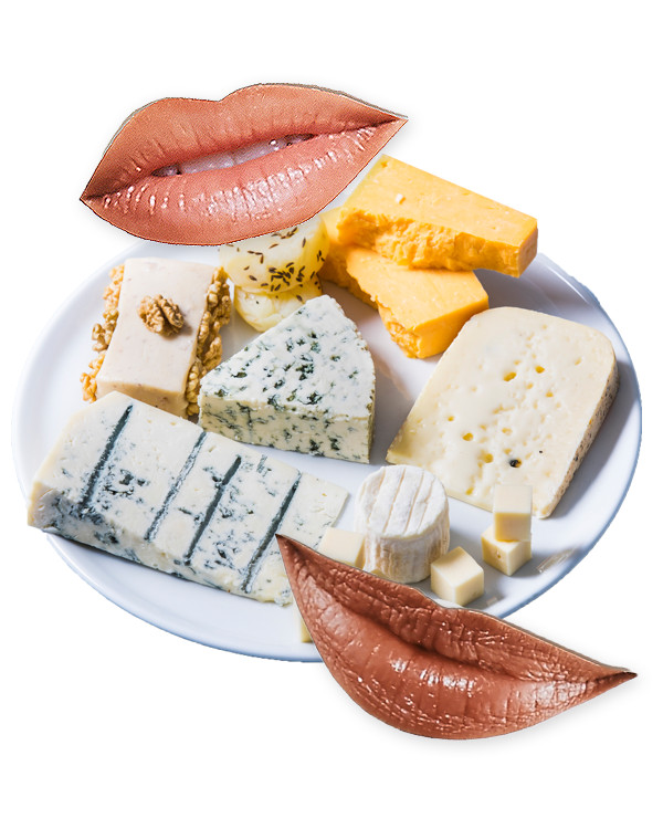 Photo collage of mouths and a cheese plate.
