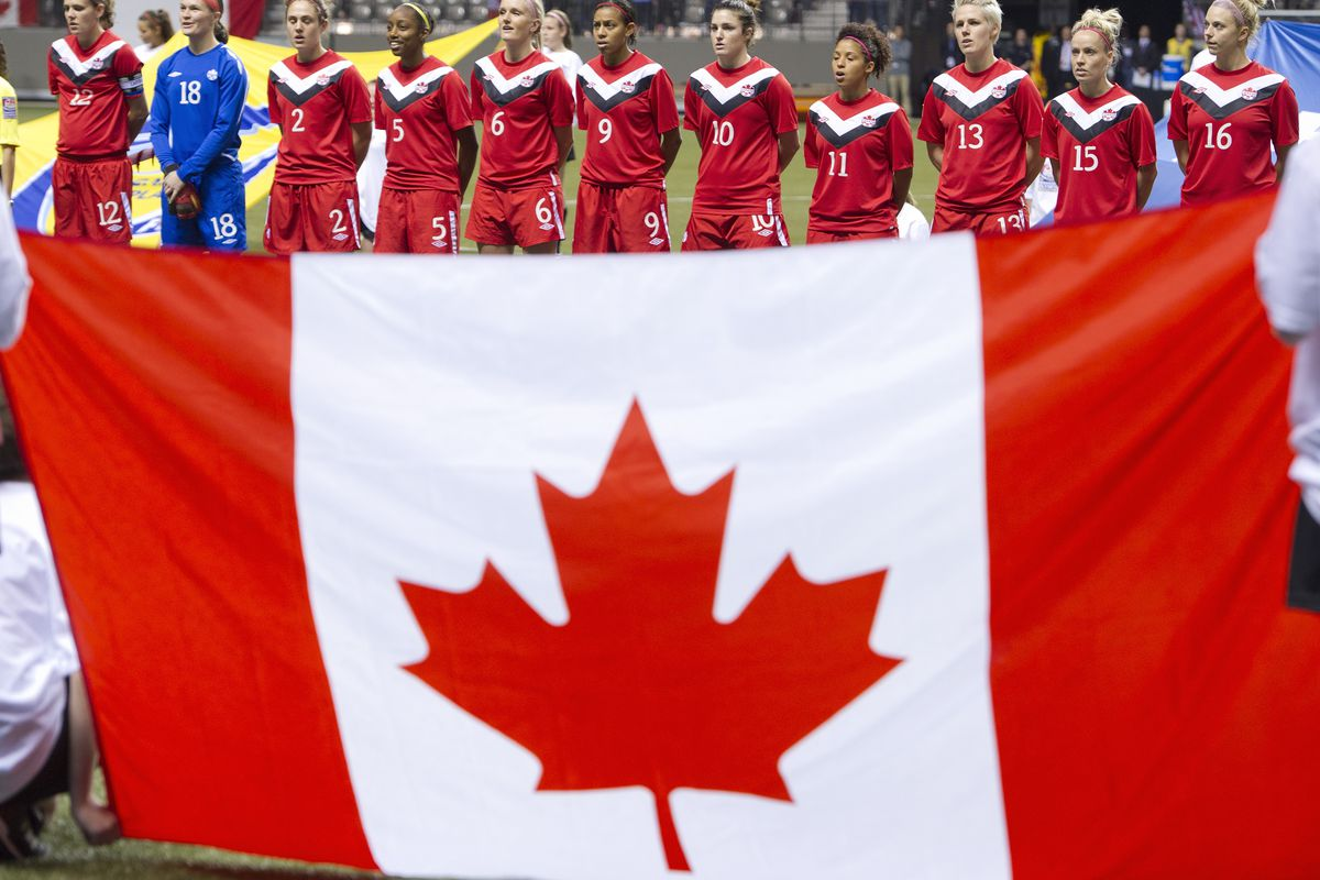 Canadian Olympic athletes stand behind the Canadian maple leaf flag