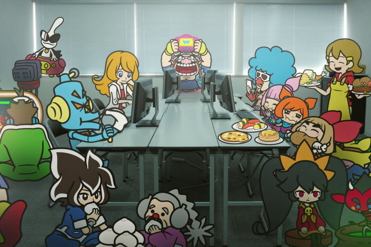 The cast of WarioWare: Get It Together! in a meeting room