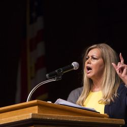 Debbie Aldrich campaigns for a chance to be the party nominee for the 3rd Congressional District during the GOP convention at Timpview High School in Provo on Saturday, June 17, 2017.