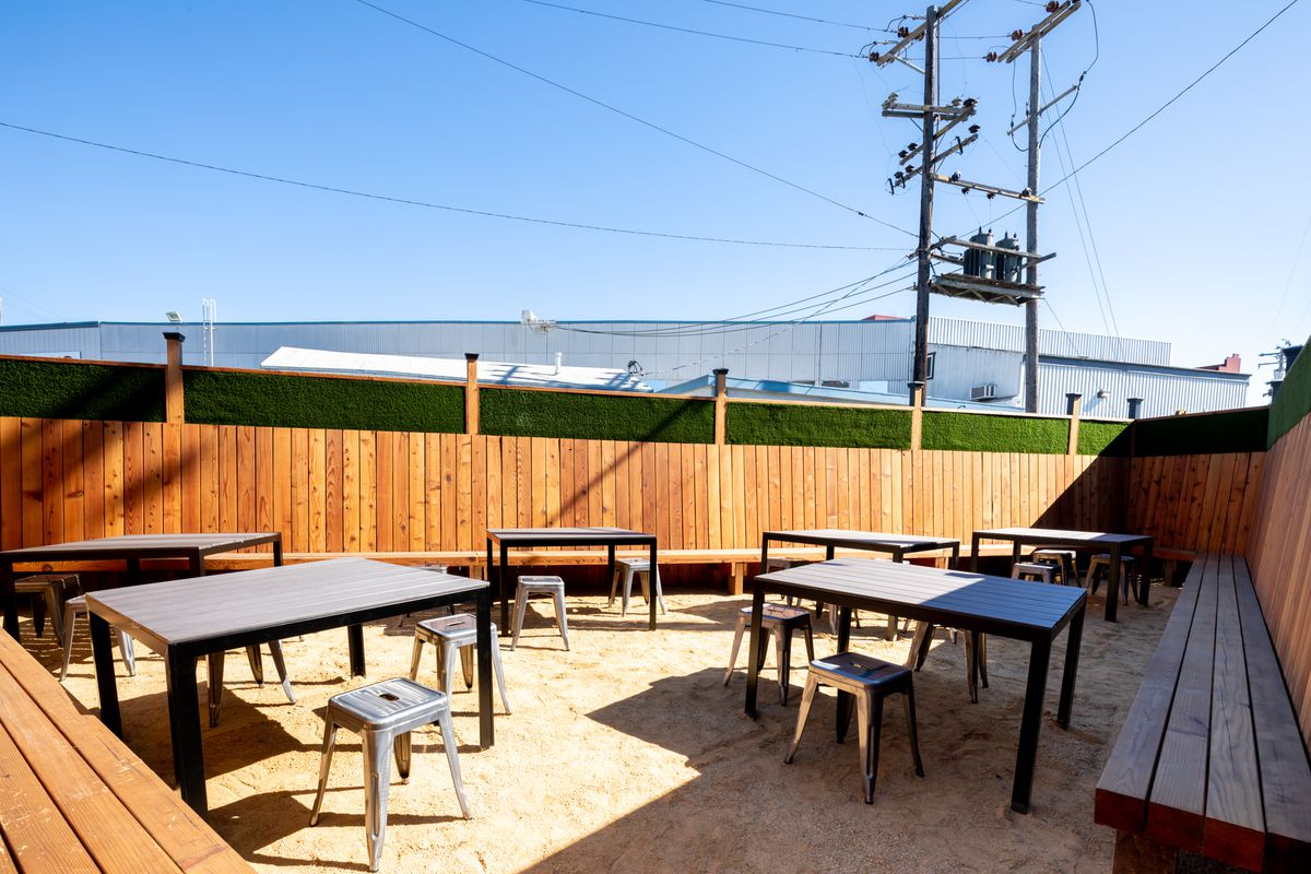 A fenced-off patio with long benches, stools, and tables