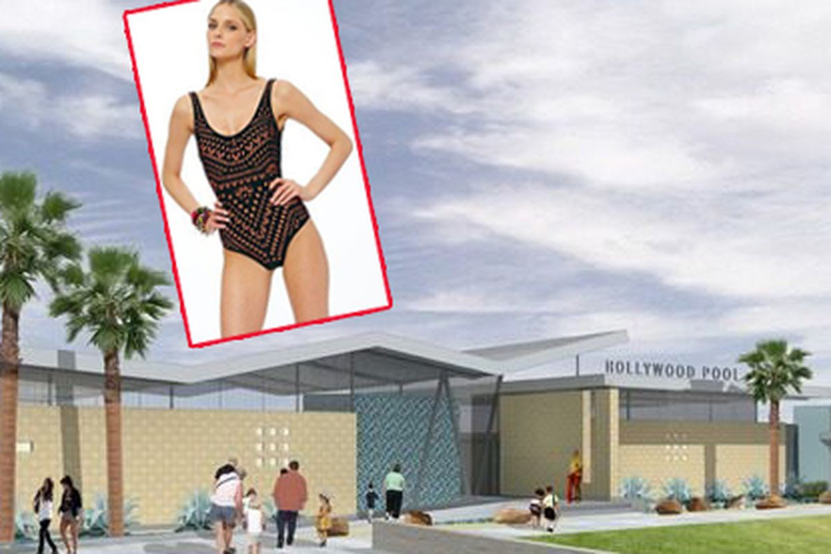 """Rendering via <a href=""""http://la.curbed.com/archives/2014/06/new_hollywood_pool_and_fancy_poolhouse_will_arrive_for_winter.php"""">Curbed LA</a>; swimsuit <a href=""""http://racked.com/archives/2014/05/28/flattering-one-piece-swimsuits.php"""">via</a>"""
