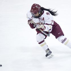 Boston College forward Kristyn Capizzano looks for the puck during the Beanpot finals at Matthews Arena in Boston, MA on Feb. 07.