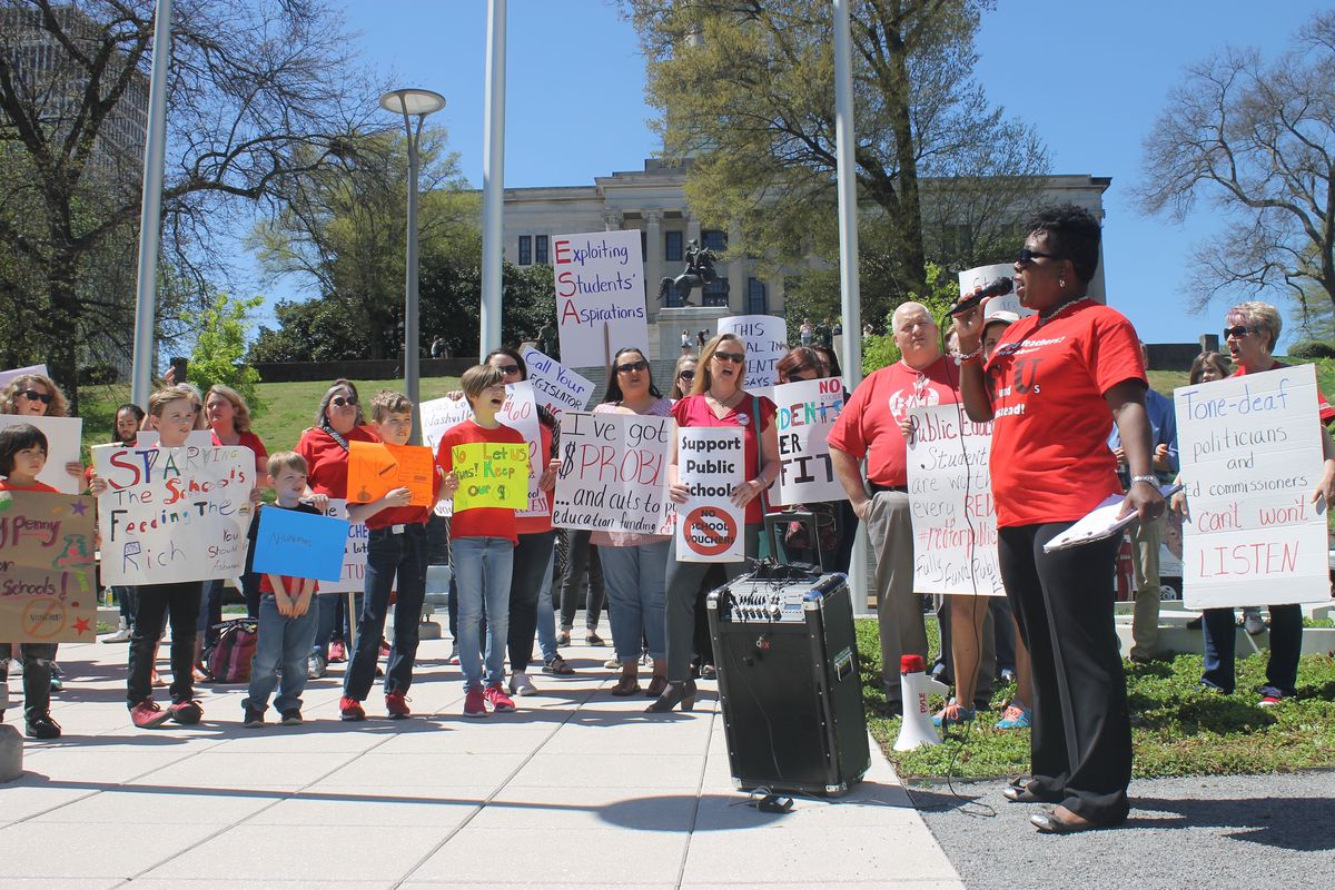 Tikeila Rucker, president of the United Education Association of Shelby County, speaks during the anti-voucher rally.