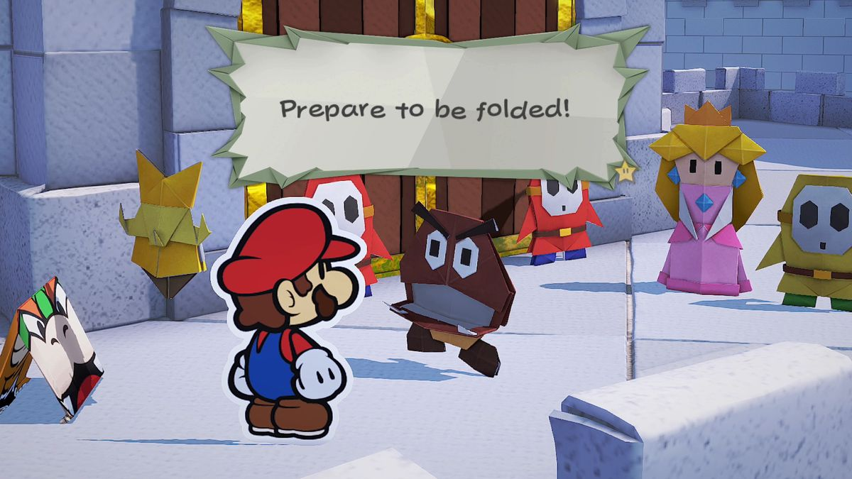 Mario confronts a paper Goomba in a screenshot from Paper Mario: The Origami King