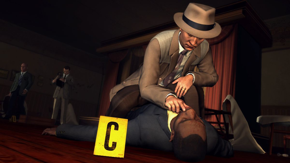 L.A. Noire on Nintendo Switch - Cole examines a corpse's mouth
