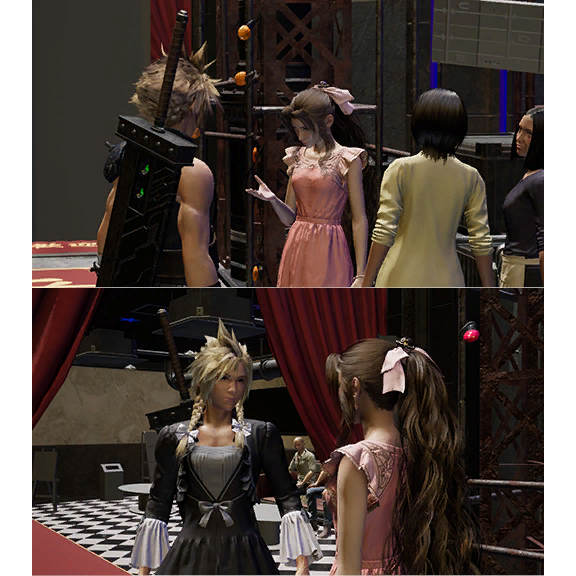 An image of Cloud in a dress and braids, with Aerith in Final Fantasy 7 Remake.