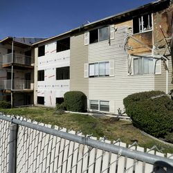 An early morning fire broke out at the Driftwood Park Apartments, 3945 S. 700 West, in Millcreek on Wednesday, May 20, 2020. Twelve other units at the Driftwood Park Apartments were under construction due to another fire that displaced 100 tenants in August.