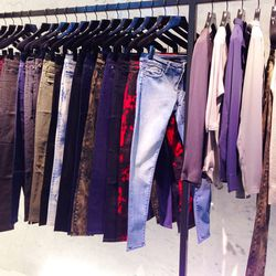 Women's denim, also in a range of fun hues and prints, $185.