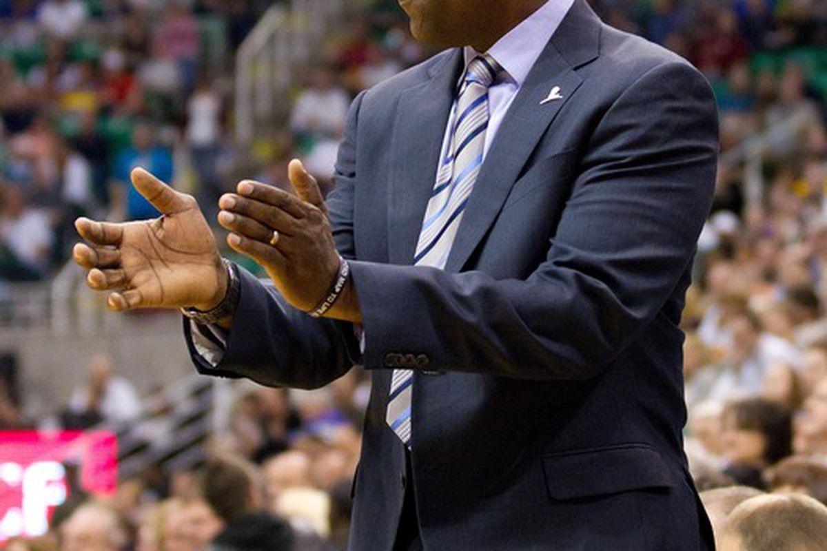 March 30, 2012; Salt Lake City, UT, USA; Sacramento Kings head coach Keith Smart during the first quarter against the Utah Jazz at Energy Solutions Arena. Mandatory Credit: Russ Isabella-US PRESSWIRE