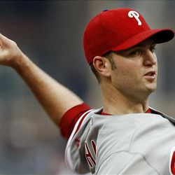 J.A. Happ gave up a two-run homer in the eighth inning to the Pirates' Garrett Jones.