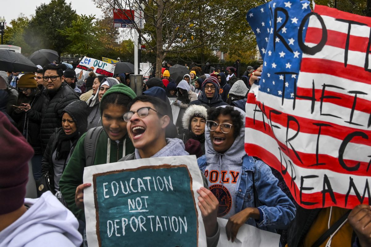 Demonstrators gather outside the Supreme Court in support of DACA in November 2019.