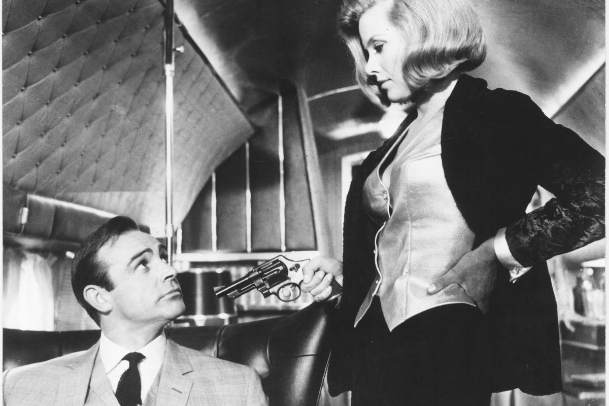 """Sean Connery and Honor Blackman are shown in a scene from the 1964 James Bond film """"Goldfinger."""""""