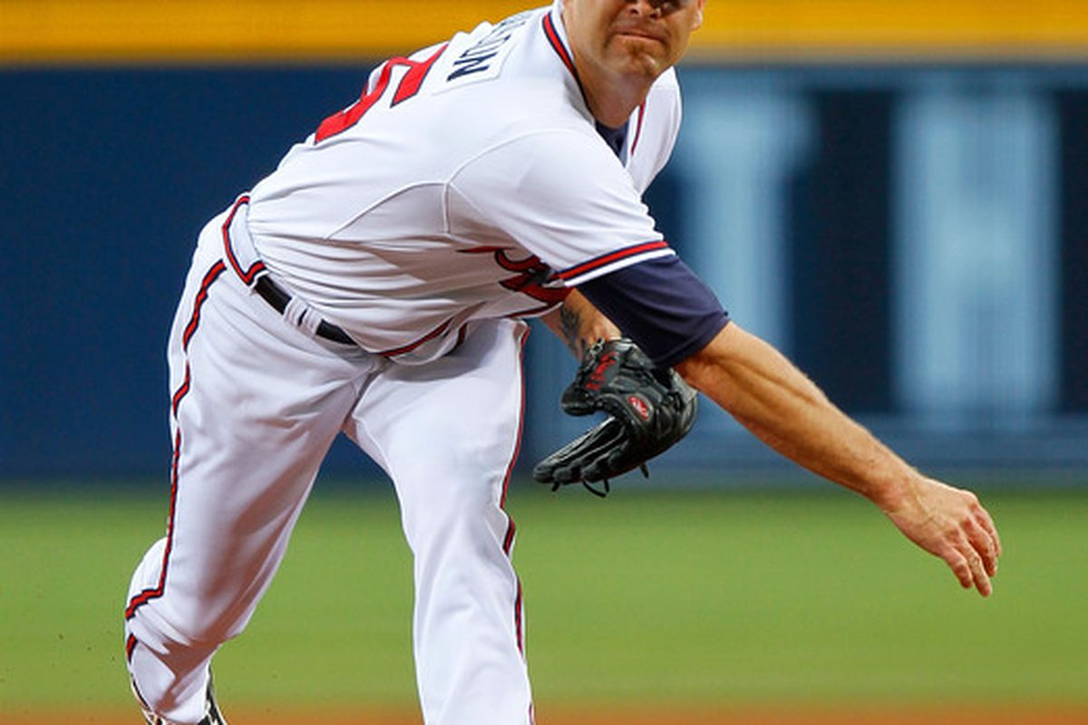 ATLANTA - JUNE 17:  Starting pitcher Tim Hudson #15 of the Atlanta Braves pitches in the first inning against the Tampa Bay Rays at Turner Field on June 17, 2010 in Atlanta, Georgia.  (Photo by Kevin C. Cox/Getty Images)