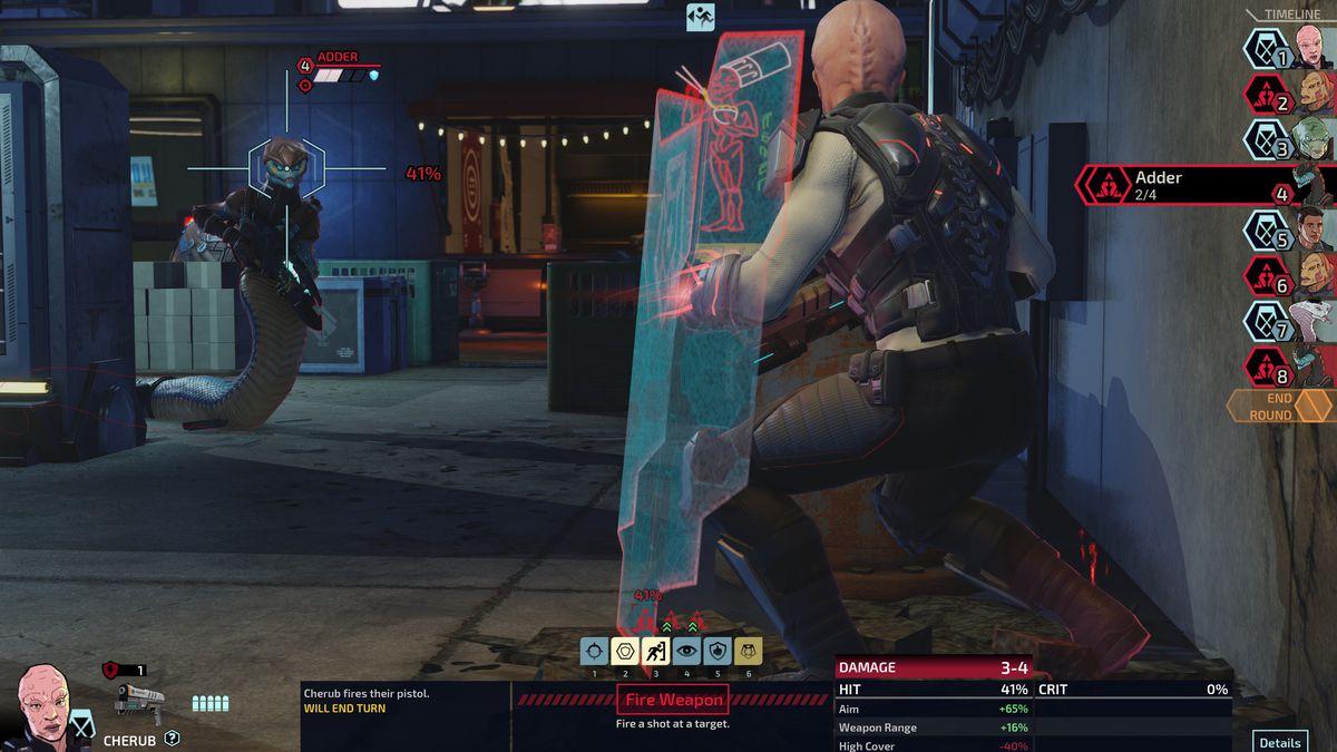 يهدف Cherub ، وهو عامل XCOM هجين يستخدم درعًا ومسدسًا ، إلى وحدة Adder جديدة.