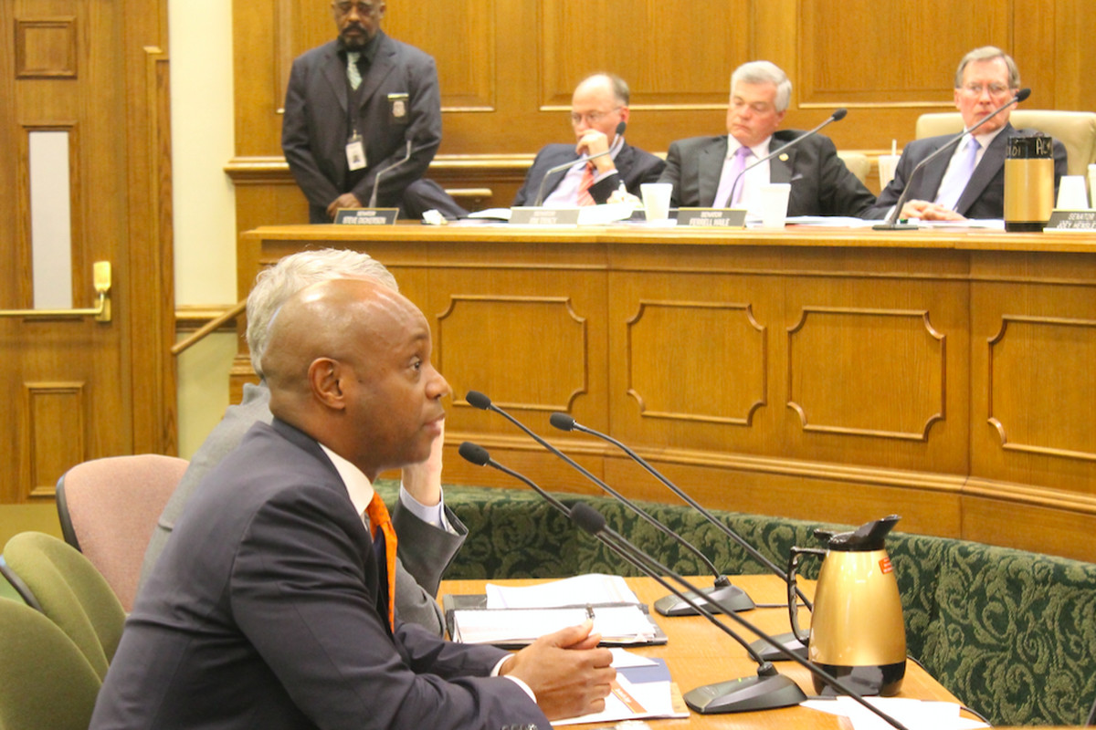 Shelby County Schools Superintendent Dorsey Hopson presents to a legislative education committee in Nashville.