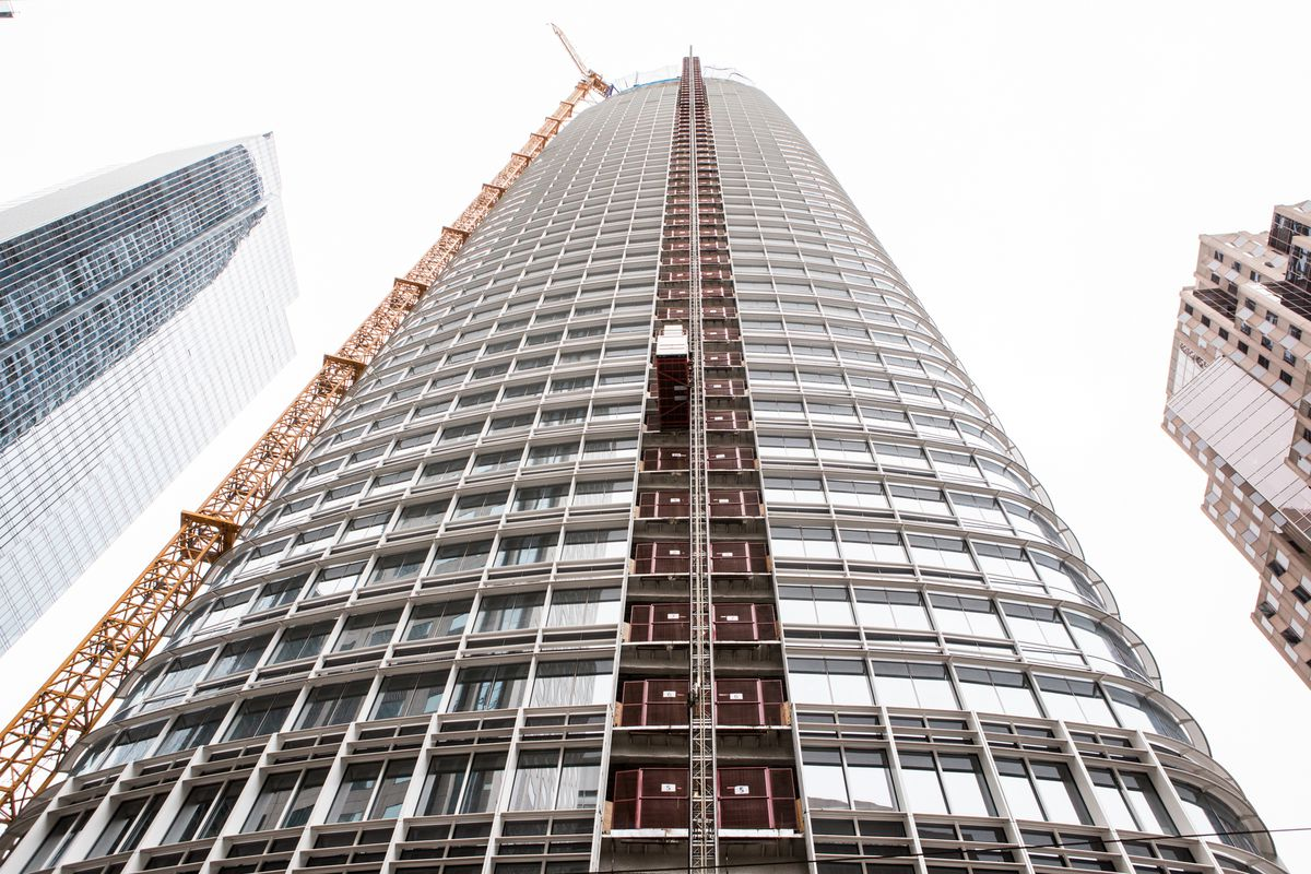 Salesforce Tower, looking up at it.