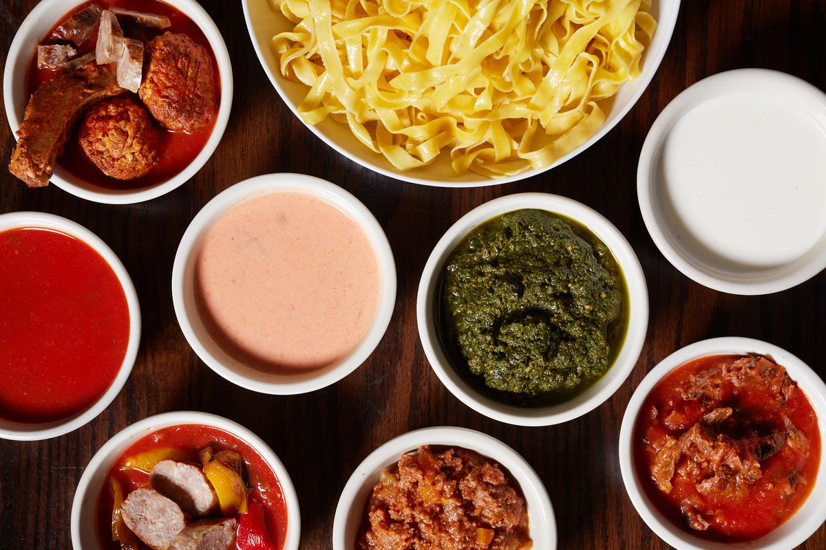Fettuccine and a variety of sauces from Toscana Market