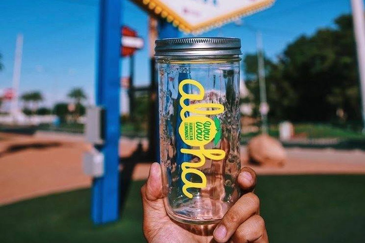 An empty mason jar used by Wow Wow Hawaiian Lemonade to serve its fresh squeezed beverages.