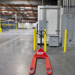 An American Apparel-branded hand truck.