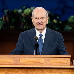 President Russell M. Nelson of The Church of Jesus Christ of Latter-day Saints speaks during the Sunday morning session of the 190th Annual General Conference, televised from the Church Office Building in Salt Lake City on Sunday, April 5, 2020.