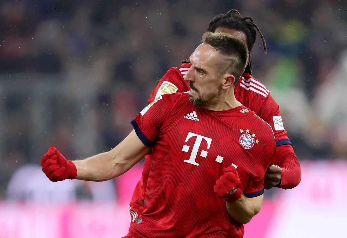 MUNICH, GERMANY - DECEMBER 19: Franck Ribery of Bayern Munich celebrates after scoring his team's first goal during the Bundesliga match between FC Bayern Muenchen and RB Leipzig at Allianz Arena on December 19, 2018 in Munich, Germany.