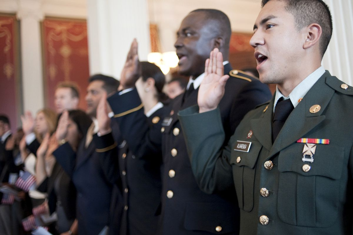 A military naturalization ceremony.
