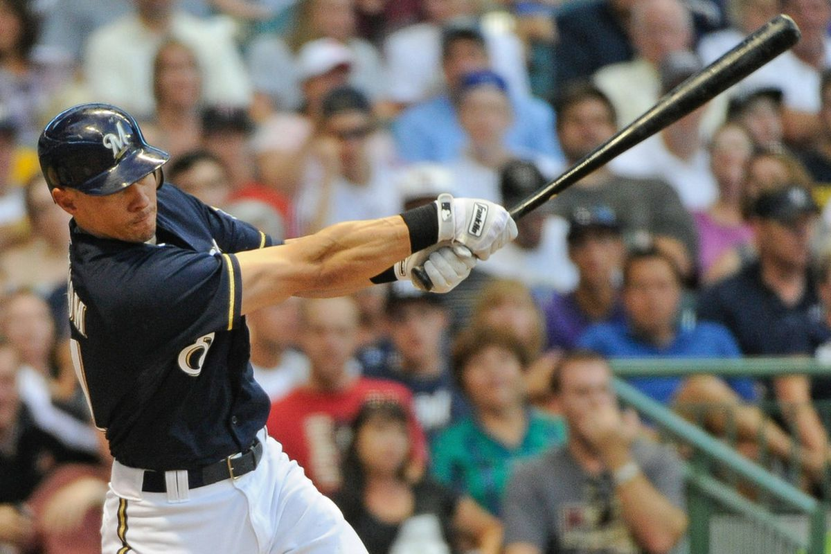 June 30, 2012; Milwaukee, WI, USA;  Milwaukee Brewers shortstop Cody Ransom (21) hits a single to drive in a run against the Arizona Diamondbacks in the fifth inning at Miller Park.  Mandatory Credit: Benny Sieu-US PRESSWIRE