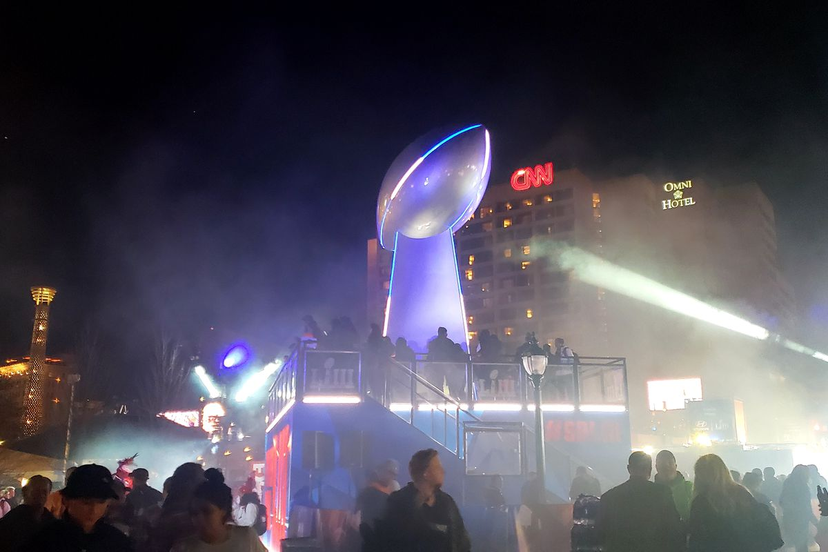 Centennial Olympic Park's climbable, oversized Vince Lombardi Trophy, where Welcome to Atlanta basically played on loop for a week.