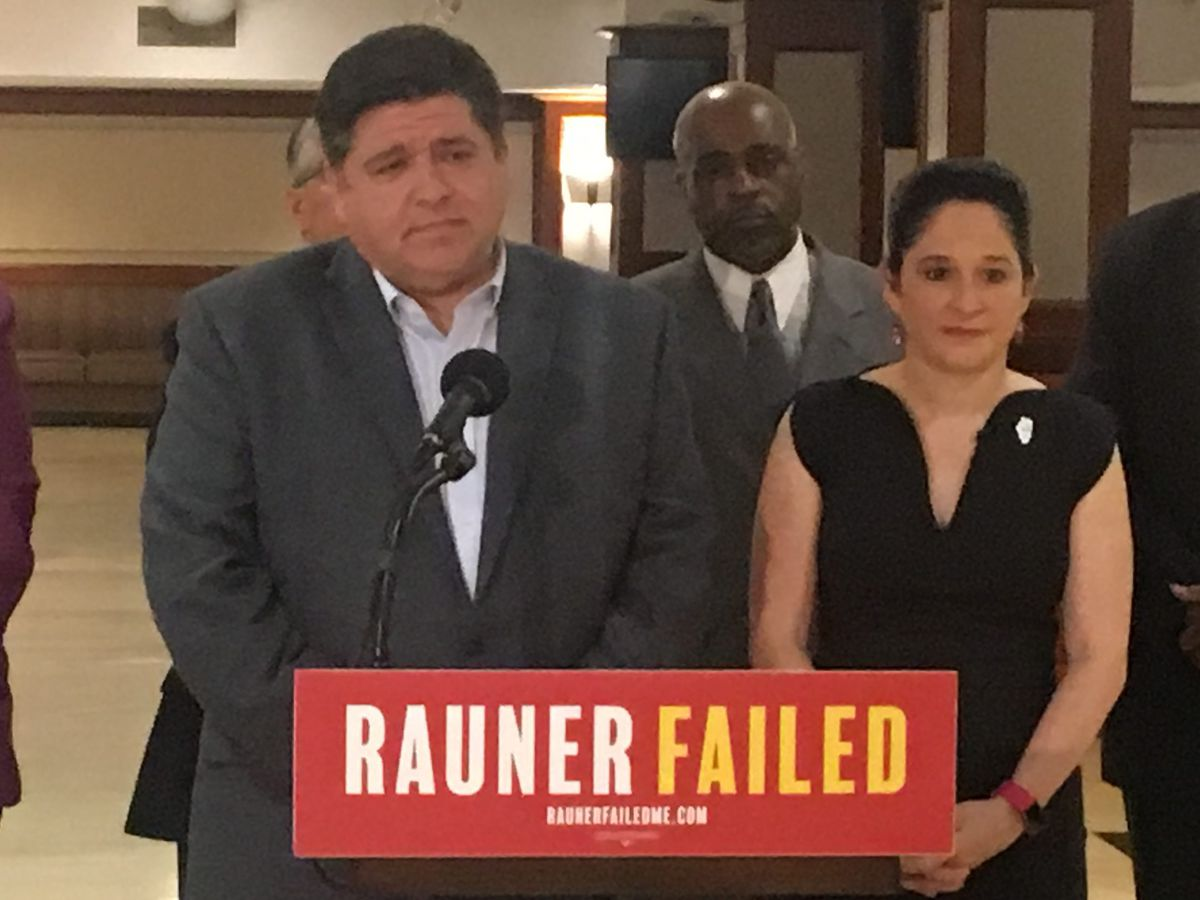Democratic gubernatorial candidate J.B. Pritzker and Illinois Comptroller Susana Mendoza at a news conference earlier this year. File photo.   Tina Sfondeles/Sun-Times